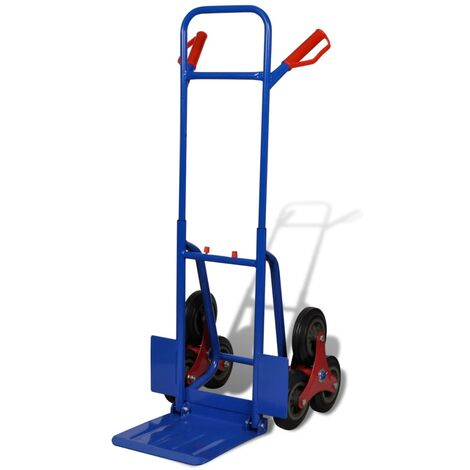 Topdeal Folding Sack Truck with 6 Wheels Blue VDTD03603