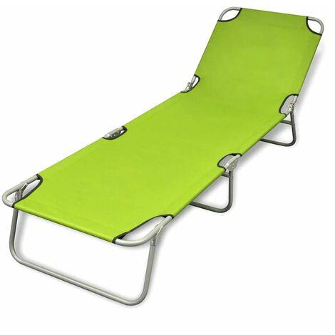 Topdeal Folding Sun Lounger Powder-coated Steel Apple Green VDTD26523