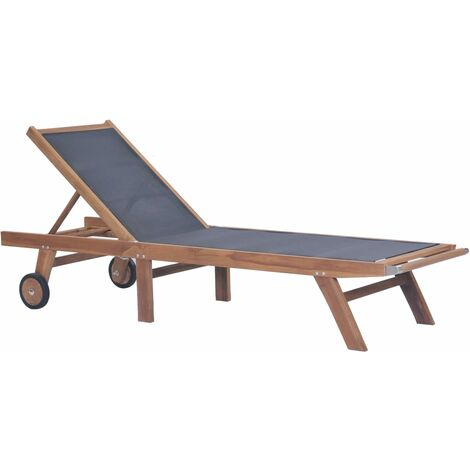 Topdeal Folding Sun Lounger with Wheels Solid Teak and Textilene VDTD28856