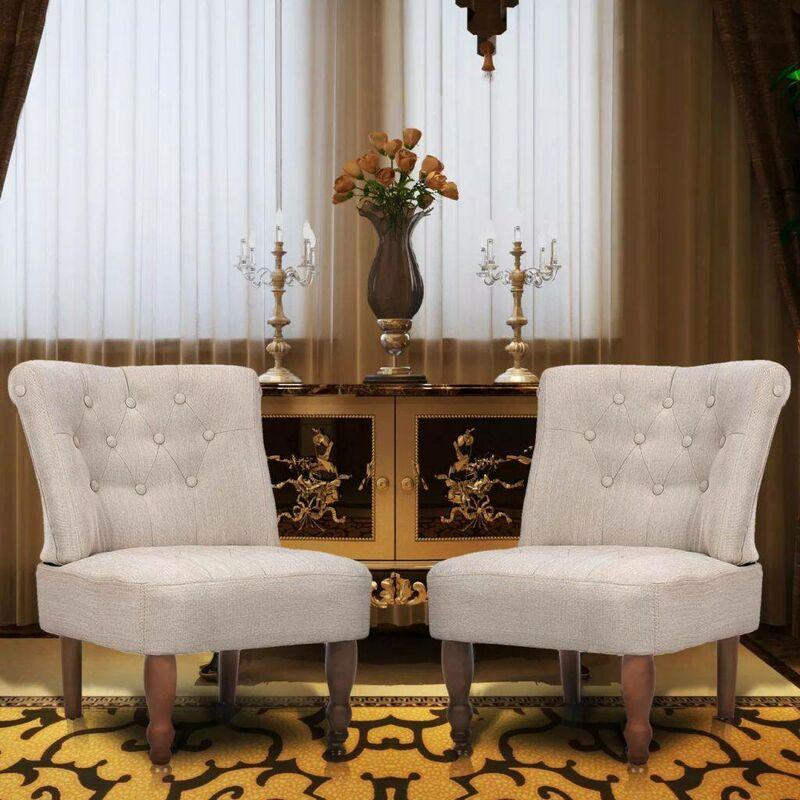 Topdeal Französische Sessel 2 Stk. Creme Stoff 08151