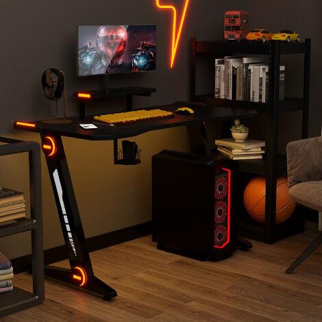 Topdeal Gaming Tisch, Gaming Schreibtisch mit LED-Beleuchtung, Monitorständer Getränkehalter und Kopfhörerhalter, für E-Sport, Großer Gaming Computertisch, 3 LED-Modi