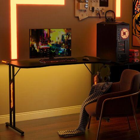 Topdeal Gaming Tisch, Gaming Schreibtisch mit LED-Beleuchtung, und Kopfhörerhalter, für E-Sport, Großer Gaming Computertisch mit Ferbedienung, Tischfläche 120 x 60 cm