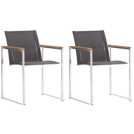 Topdeal Garden Chairs 2 pcs Textilene and Stainless Steel Grey VDTD45546