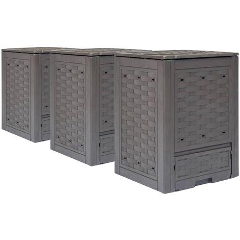 Topdeal Garden Composters 3 pcs Brown 60x60x83cm 900 L VDTD21186