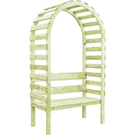 Topdeal Garden Pergola with Bench 130x60x230 cm Impregnated Pinewood VDTD46841