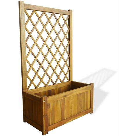 Topdeal Garden Planter with Trellis Solid Acacia Wood VDTD28036