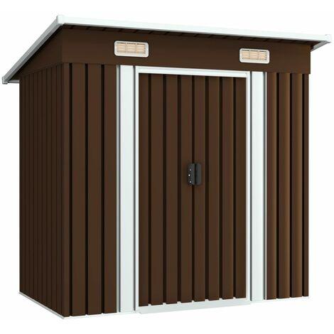 Topdeal Garden Storage Shed Brown 194x121x181 cm Steel VDTD30184