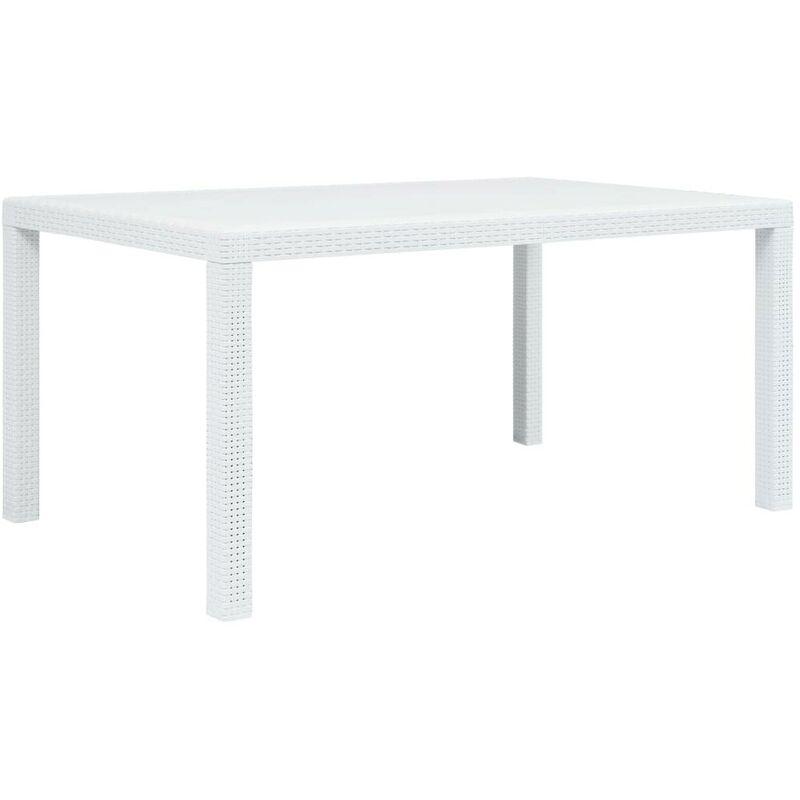 Topdeal Gartentisch Weiß 150 x 90 x 72 cm Kunststoff Rattan-Optik 29734