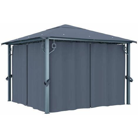 Topdeal Gazebo with Curtain 300x300 cm Anthracite VDTD46262