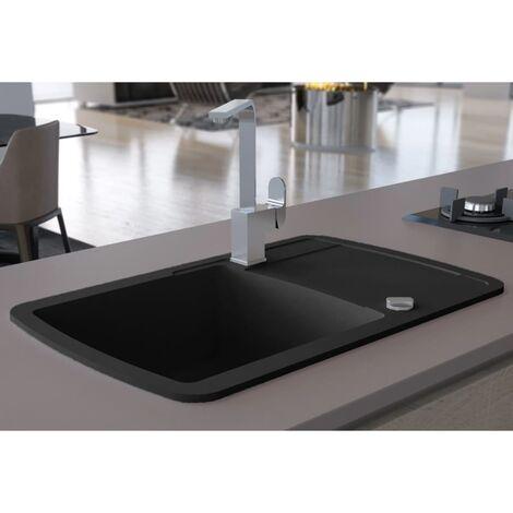 Topdeal Granite Kitchen Sink Single Basin Black VDTD04958