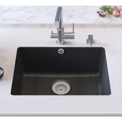 Topdeal Granite Kitchen Sink Single Basin Black VDTD04974