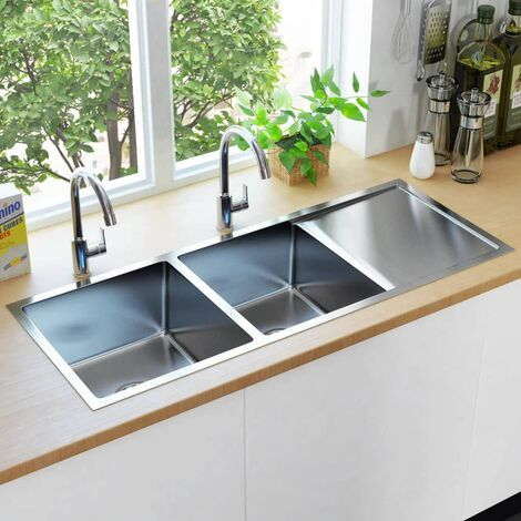 Topdeal Handmade Kitchen Sink with Strainer Stainless Steel VDTD34971