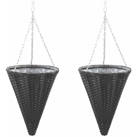Topdeal Hanging Flower Baskets 2 pcs Poly Rattan Black VDTD45667
