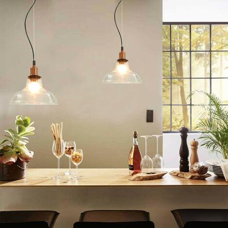 Topdeal Hanging Lamps 2 pcs Transparent Round 28 cm E27 VDTD30690