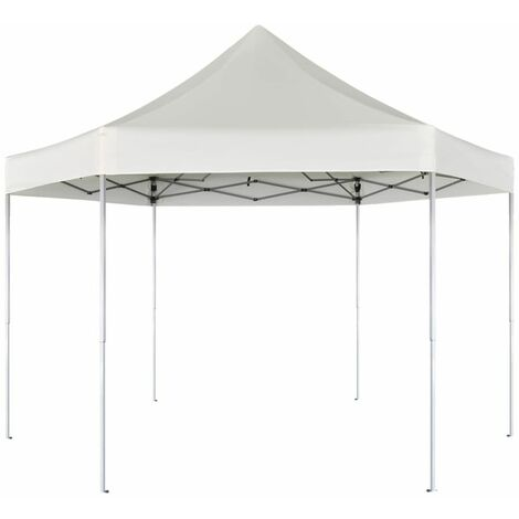 Topdeal Hexagonal Pop-Up Foldable Marquee Cream White 3.6x3.1 m VDTD26802