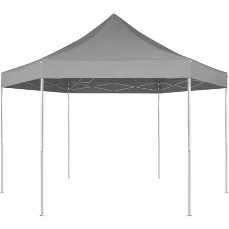 Topdeal Hexagonal Pop-Up Foldable Marquee Grey 3.6x3.1 m VDTD26804