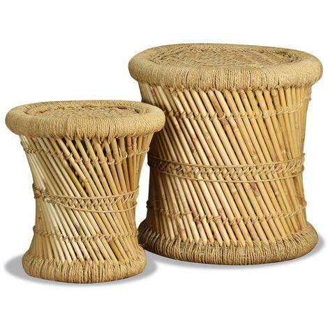 Topdeal Hocker 2 Stk. Bambus und Jute 10375