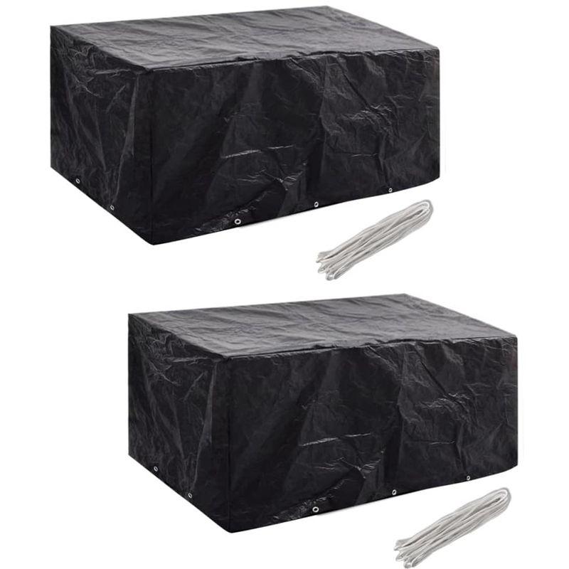 VDTD21359_FR Housses de mobilier de jardin 2 pcs Rotin 10 ?illets 240x140 cm - Topdeal