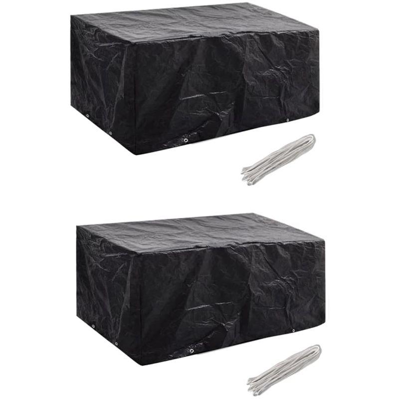 Topdeal VDTD21358_FR Housses de mobilier de jardin 2 pcs Rotin 8 ?illets 180x140 cm