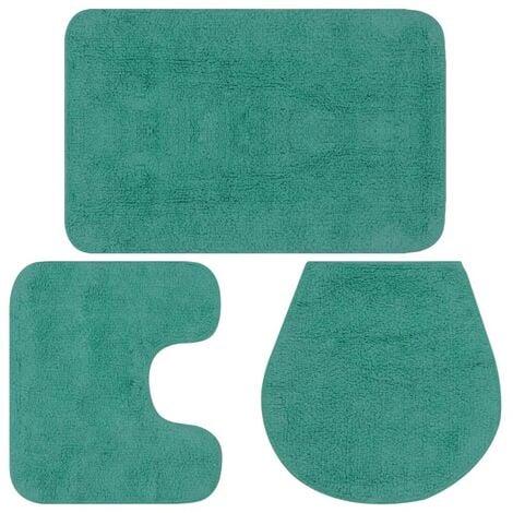 Topdeal Jeu de tapis de salle de bain 3 pcs Tissu Turquoise