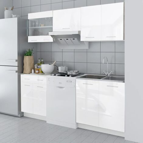 Topdeal Kitchen Cabinet Unit 5 Pieces High Gloss White 200 cm VDTD08854