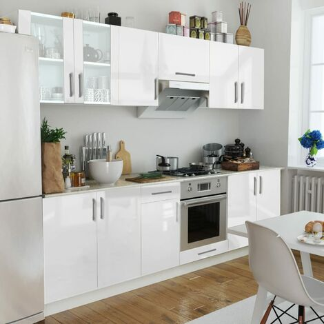 Topdeal Kitchen Cabinet Unit 8 Pieces High Gloss White 260 cm VDTD08857