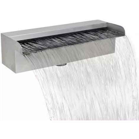 Topdeal Lame d'eau rectangulaire 30 cm Acier inoxydable pour piscine