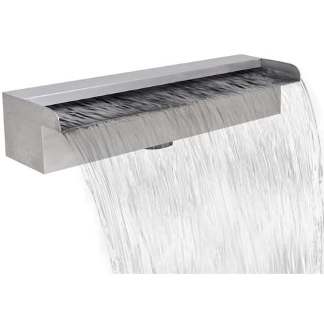 Topdeal Lame d'eau rectangulaire 45 cm Acier inoxydable pour piscine