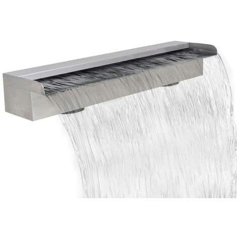 Topdeal Lame d'eau rectangulaire 60 cm Acier inoxydable pour piscine
