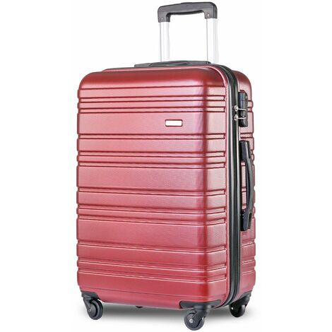"Topdeal Lightweight Hard Shell 4 Wheel Travel Trolley Suitcase Luggage Set Holdall Cabin Case (24"", Red) YCTD00400"