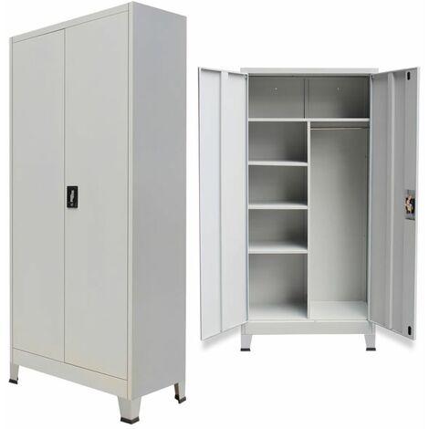 Topdeal Locker Cabinet with 2 Doors Steel 90x40x180 cm Grey VDTD07448