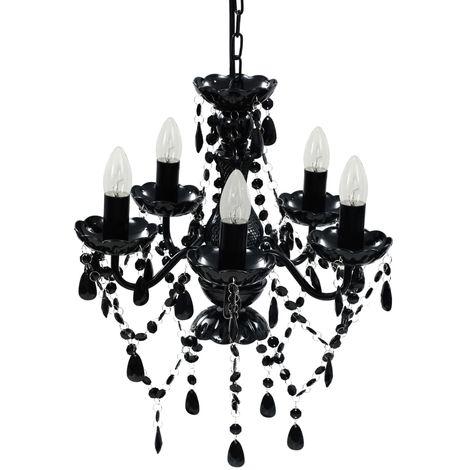 Topdeal Lustre avec 5 ampoules Crystal noir - VDTD08153_FR