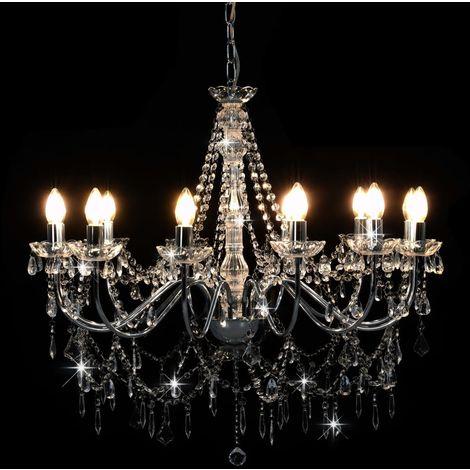 Topdeal Lustre avec perles Argenté 12 ampoules E14 - VDTD23207_FR