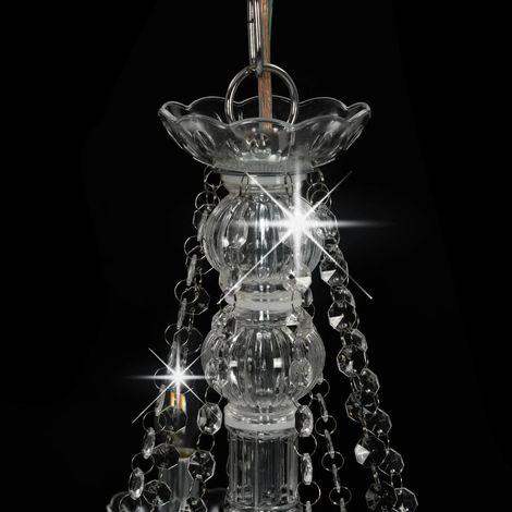 Topdeal Lustre avec perles Argenté 8 ampoules E14 - VDTD23203_FR