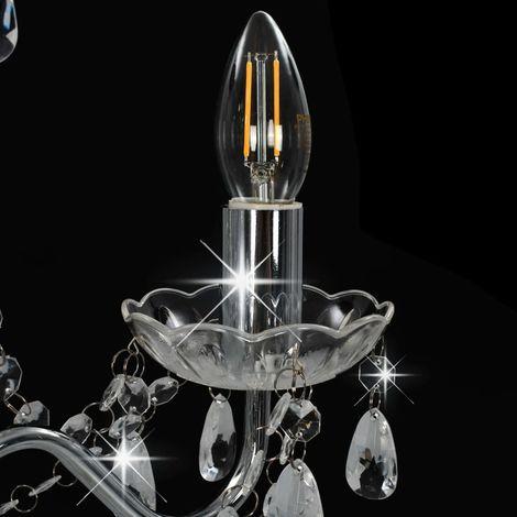 Topdeal Lustre avec perles Argenté Rond 3 x E14 - VDTD23196_FR