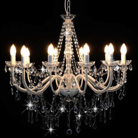 Topdeal Lustre avec perles Blanc 12 ampoules E14 - VDTD23205_FR
