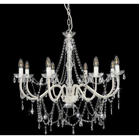 Topdeal Lustre avec perles Blanc 8 ampoules E14 - VDTD23201_FR