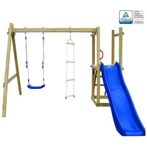 Topdeal Maison et toboggan échelles balançoire 242x237x175 cm Bois FSC