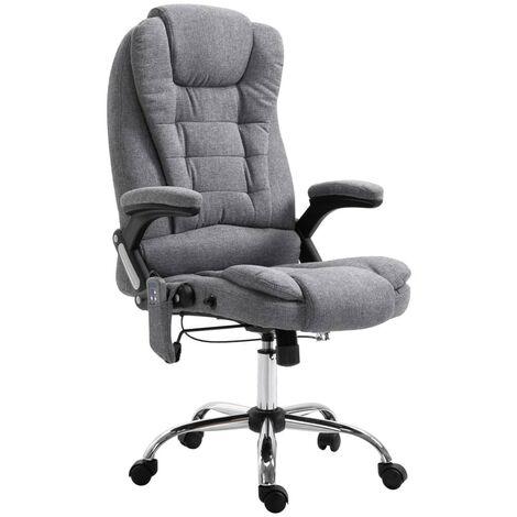 Topdeal Massage-Bürostuhl Grau Polyester 07538