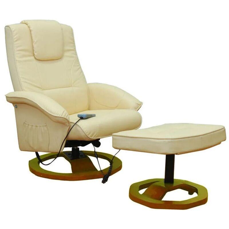 Topdeal Massagesessel mit Fußhocker Creme Kunstleder 30880