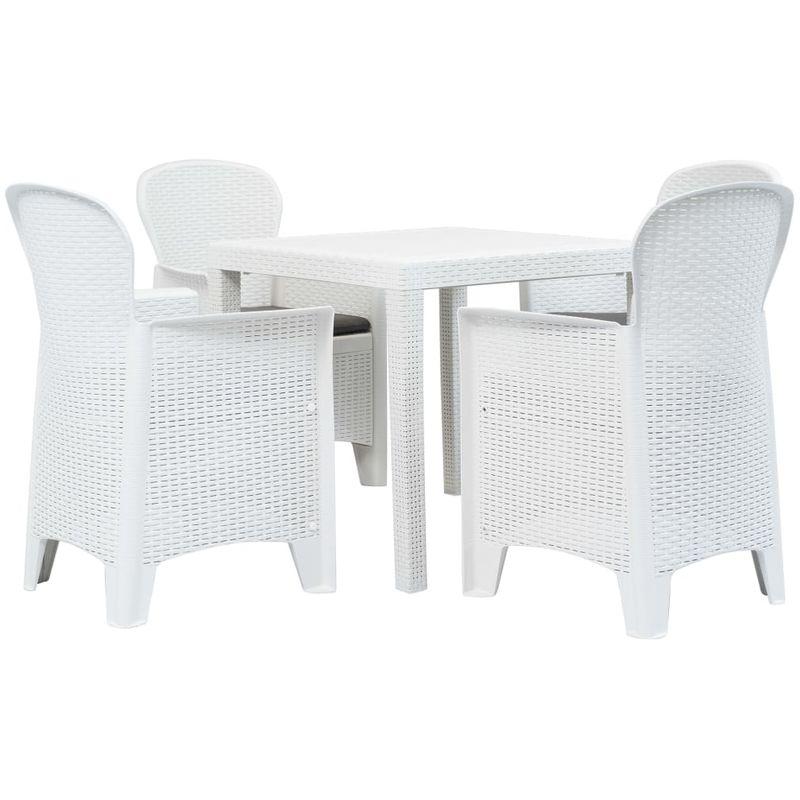 Topdeal VDTD18995_FR Meuble à dîner d'extérieur 5pcs Plastique Blanc Aspect de rotin