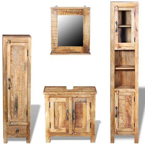 Topdeal Meuble toilette+miroir et 2 armoires latérales Bois de manguier