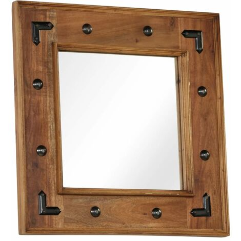 Topdeal Mirror Solid Acacia Wood 50x50 cm VDTD12241