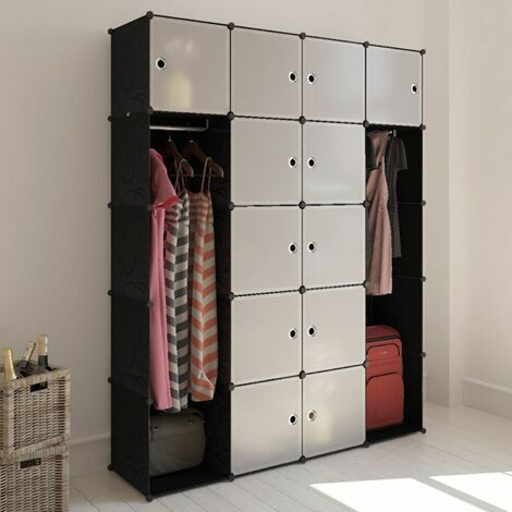 Topdeal Modular Cabinet 14 Compartments Black and White 37x146x180.5 cm VDTD08230