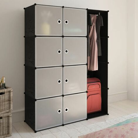 Topdeal Modular Cabinet 9 Compartments 37x115x150 cm Black and White VDTD08228