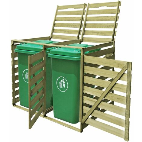 Topdeal Mülltonnenbox für 2 Tonnen 240 L Imprägniertes Holz 26895