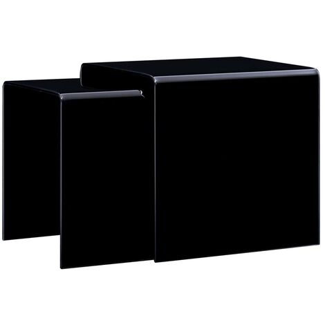 Topdeal Nesting Coffee Tables 2 pcs Black 42x42x41.5 cm Tempered Glass VDTD25039