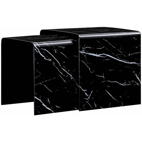 Topdeal Nesting Coffee Tables 2 pcs Black Marble Effect 42x42x41.5 cm Tempered Glass VDTD25041