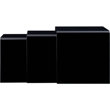 Topdeal Nesting Coffee Tables 3 pcs Black 42x42x41.5 cm Tempered Glass VDTD25036