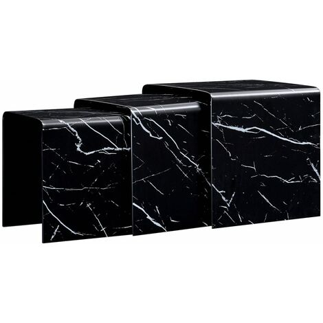 Topdeal Nesting Coffee Tables 3 pcs Black Marble Effect 42x42x41.5 cm Tempered Glass VDTD25038
